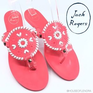 JACK ROGERS Pink and White Georgica Jelly Sandal